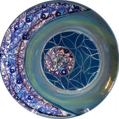 Grand plat tons bleus 31 cm